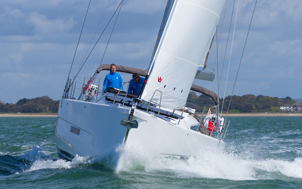 Dufour-56-exclusive-boat-test-bow-credit-david-harding