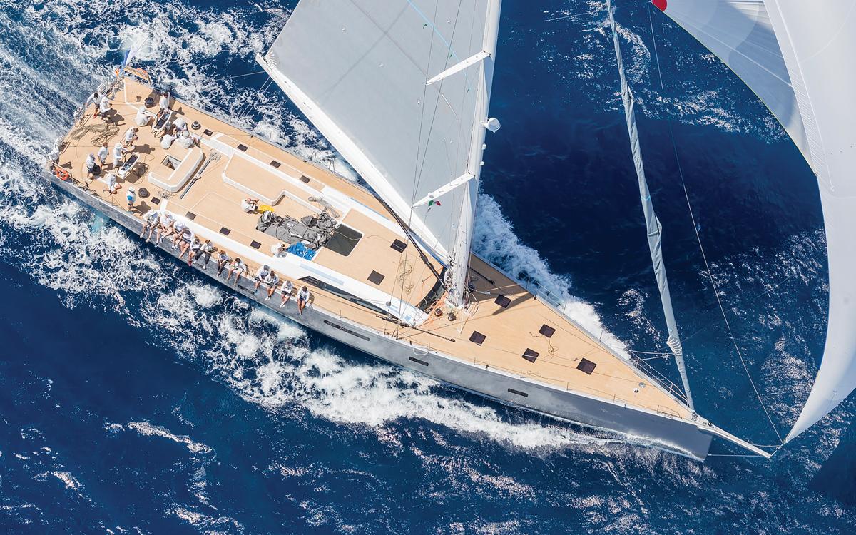 Southern-Wind-105-sailing-superyacht-Kiboko-Tres-Aerial-view-loro-piana-regatta-2019
