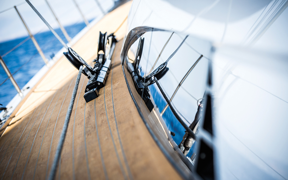 Southern-Wind-105-sailing-superyacht-Kiboko-Tres-deck-close-up-credit-Richard-Langdon