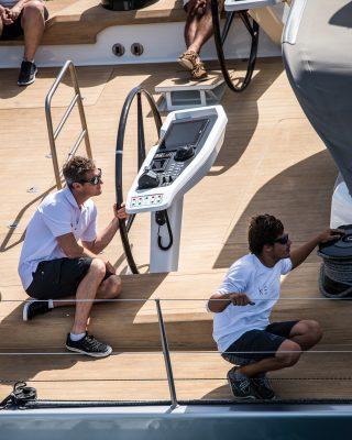 Southern-Wind-105-voile-superyacht-Kiboko-Tres-helm-credit-Richard-Langdon