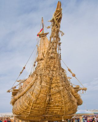 Viracocha-III-chilean-reed-boat-Bow-credit-andrew-dare