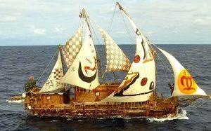 Viracocha-III-chilean-reed-boat-at-sea-drone-view-credit-facebook-viracocha-expeditions