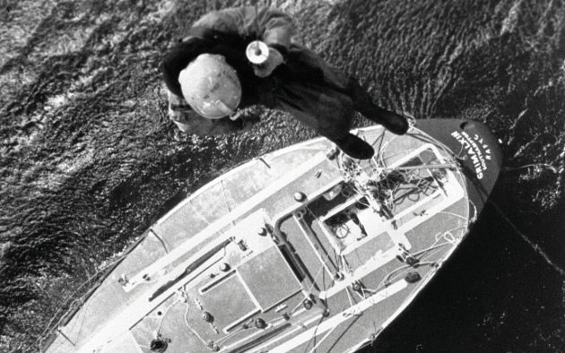 Helicopter winchman  goes to Grimalkin. Photo: PA Archive