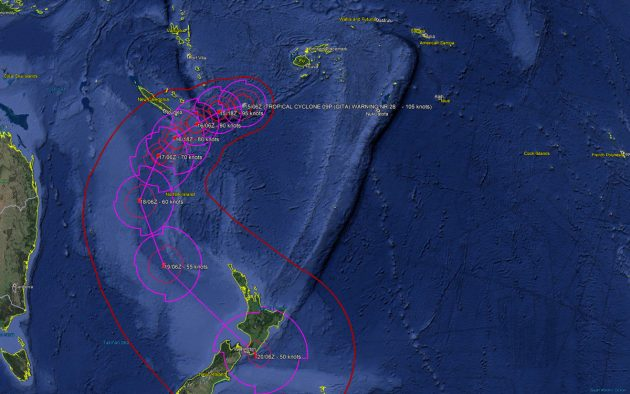 Google Earth image showing the track of Tropical Cyclone Gita in February 2018
