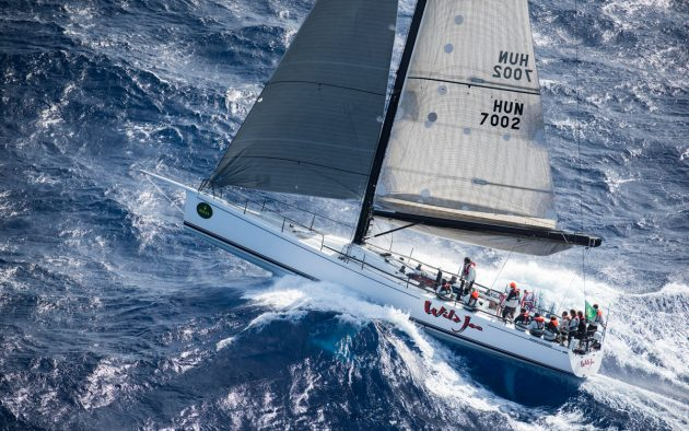 Shortening sail reduces the combined heeling moment from waves and wind to reduce the risk of a broach or knockdown. Photo: Kurt Arrigo