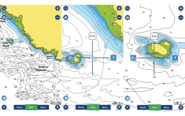 Setting depth shading can help route planning if using a phone for emergency navigation