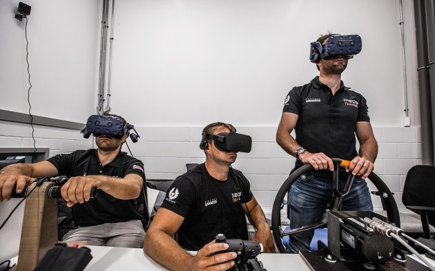 The Ineos Team UK sailors can use virtual reality as well as a full-size simulator platform to test designs and settings. Photo: Harry KH
