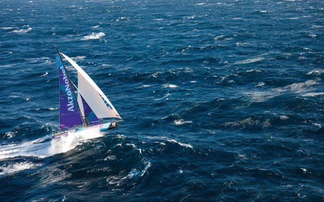 AkzoNobel launches into big seas at the start of the Lisbon to Cape Town leg of the 2017/18 Volvo Ocean Race. Photo: Ainhoa Sanchez / Volvo Ocean Race