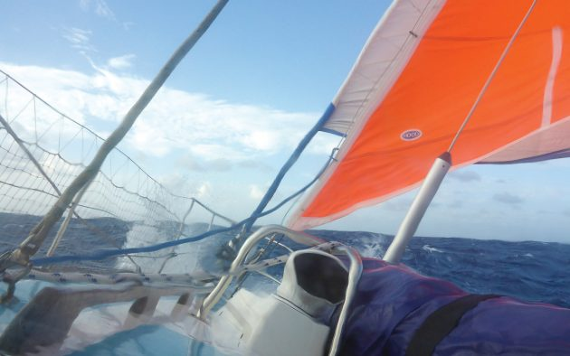 Zoonie flying under  furled genoa and storm jib