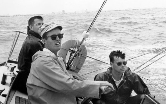 Rabbit's crew had been up all night in a storm when this photo was taken. Dick Carter is on the helm