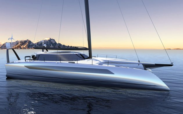The future of yachting? The Daedalus 88 is a highly innovative fast cat for global cruising using wind, solar and hydrogen power sources for zero emissions