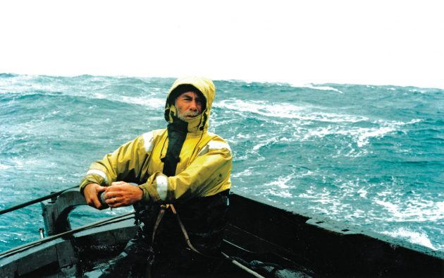 Southern seas  and Paddy Barry at the helm of his Galway Hooker, Saint Patrick