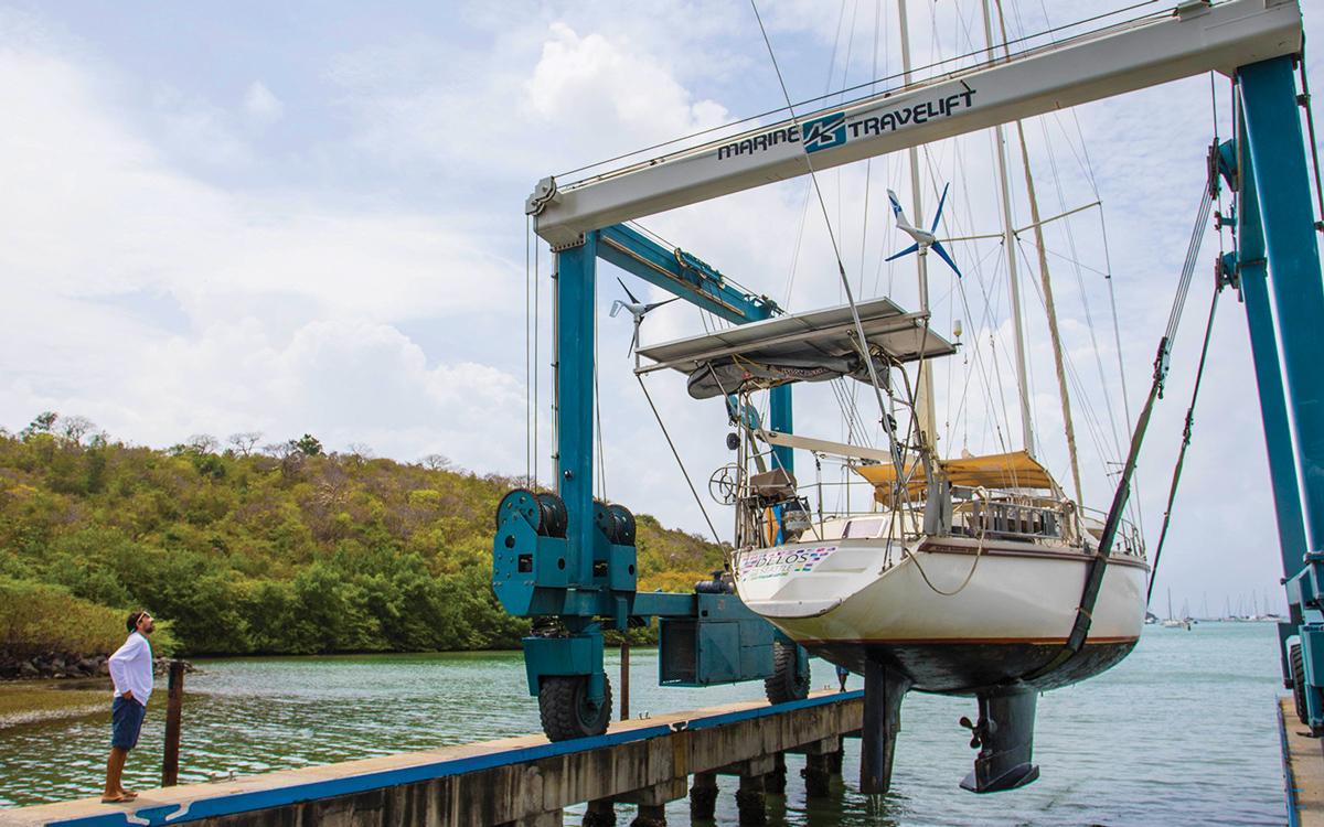sv-delos-self-sustainable-yacht-Grenada-Haulout