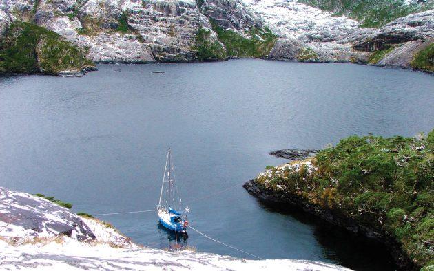 Moored off the Brecknock Peninsula in Tierra del Fuego