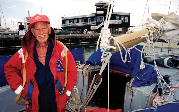 Now aged 92, Les has spent half a lifetime sailing and living aboard Solitaire. Photo: PPL / Peter Smailes