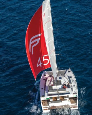 fountaine-pajot-45-catamaran-yacht-review-running-shot-tall-credit-Gilles-Martin-Raget