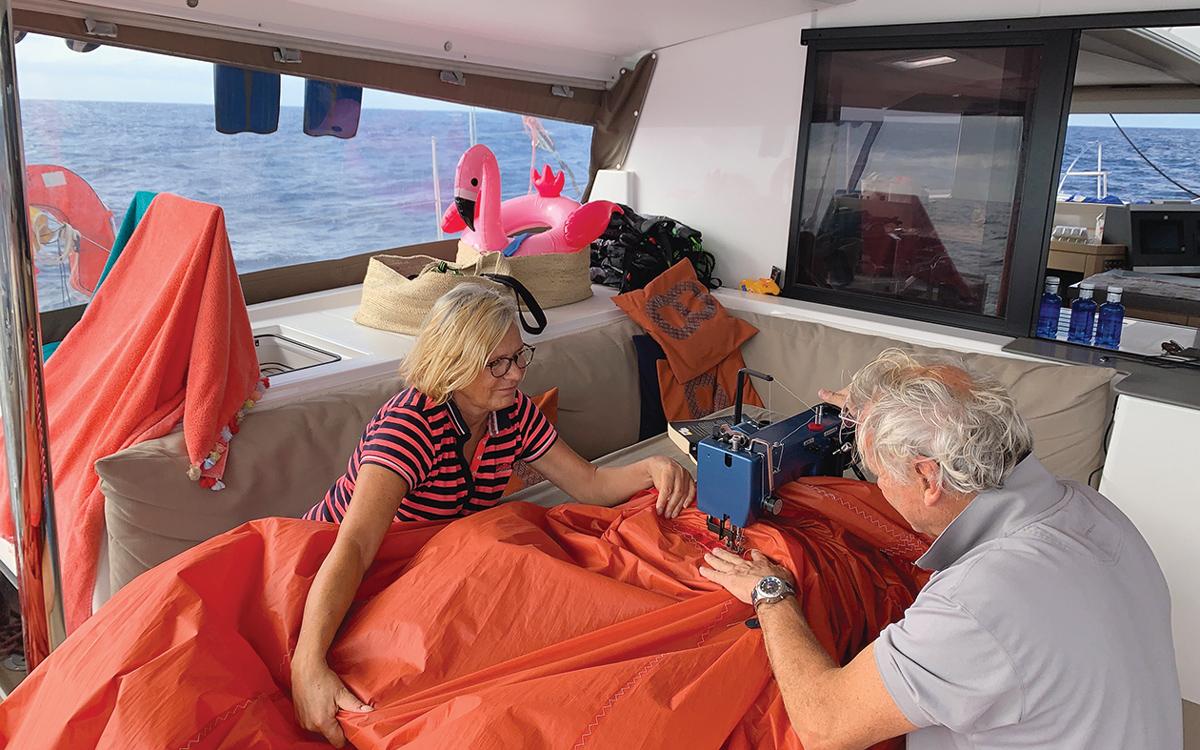 2019-arc-survey-sail-handling-catamaran-Saona-47-sail-repair-credit-Robbert-Verboon