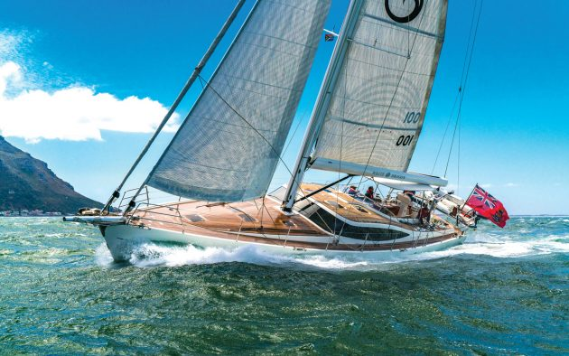 Easy reefing on the Kraken 66 White Dragon during our heavy airs test, with an in-boom system by Southern Spars. Photo: Kraken Yachts