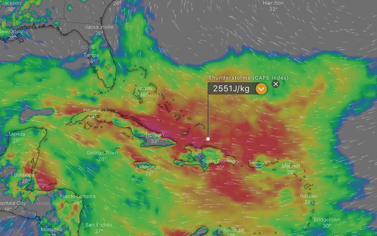 lightning-strikes-yacht-CAPE-index-forecast