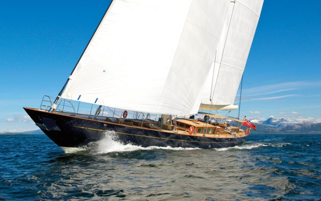 Pumula in full flight. Dykstra designed the aluminium cutter with a modern lifting L-shaped keel for global cruising. She launched from Royal Huisman in 2012 and has since sailed almost 100,000 miles. Photo: Tom Nitsch