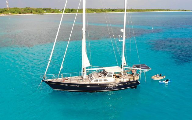 Jennifer and Peter Bernard's yacht Steel Sapphire moored at Uligan, Maldives. Photo: Peter Bernard