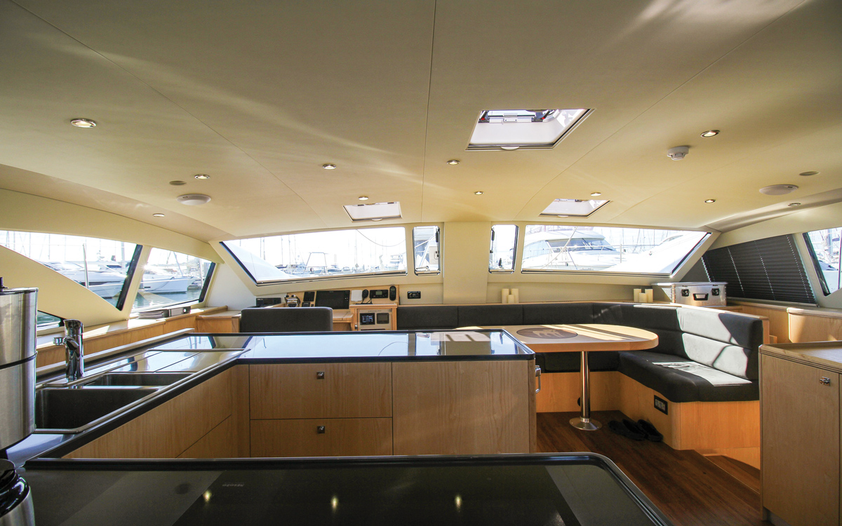 Discovery-Bluewater-50-catamaran-boat-test-galley-credit-Richard-Langdon-Ocean-Images