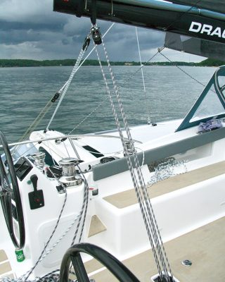 mainsail-handling-multihull-catamaran-sailing-techniques-Dragonfly-40-bridle-credit-Al-Wood
