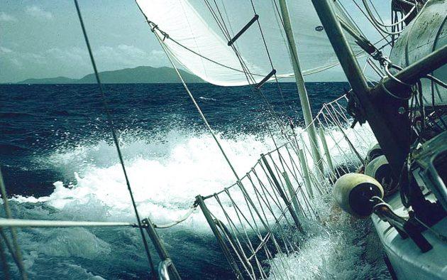 Nada at sea with excessive heeling, side decks awash