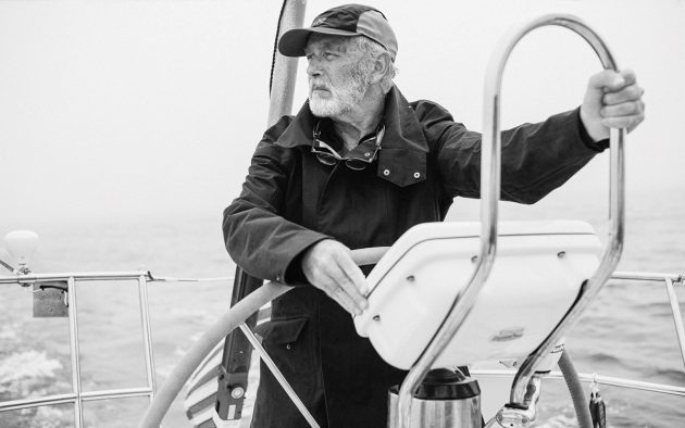 Dallas Murphy, here cruising in Sachem, Block Island Sound, is also a novelist and oceanographer. Photo: Michael Grimm