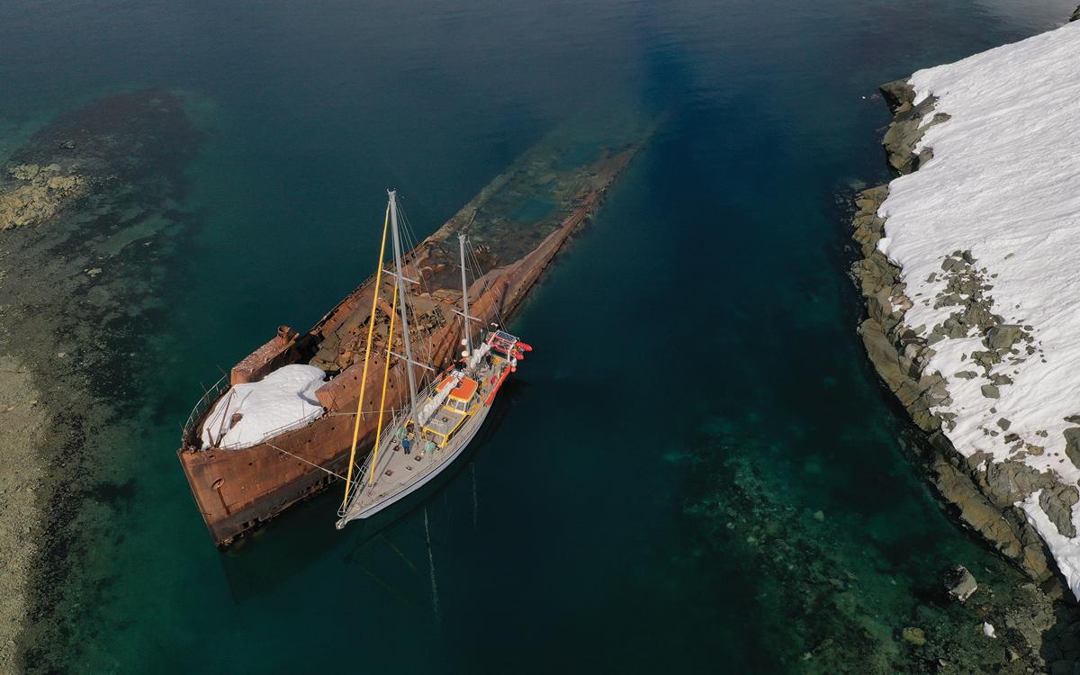 sailing-antarctica-nick-moloney-Ocean-Tramp-ketch-Govornen-wreck--Foyn-Harbour-Enterprise-island-credit-Caesar-Schinas