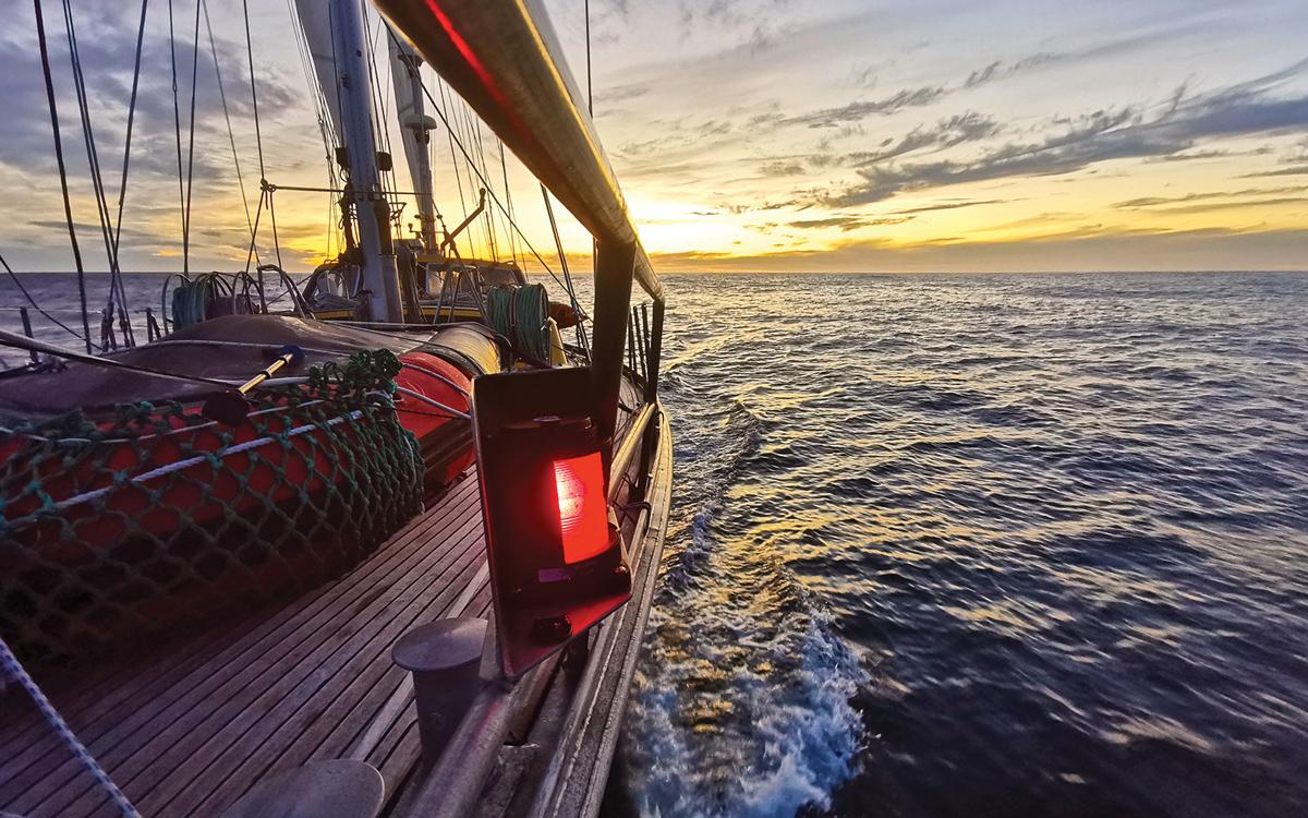 sailing-antarctica-nick-moloney-Ocean-Tramp-ketch-foredeck-falklands-approach