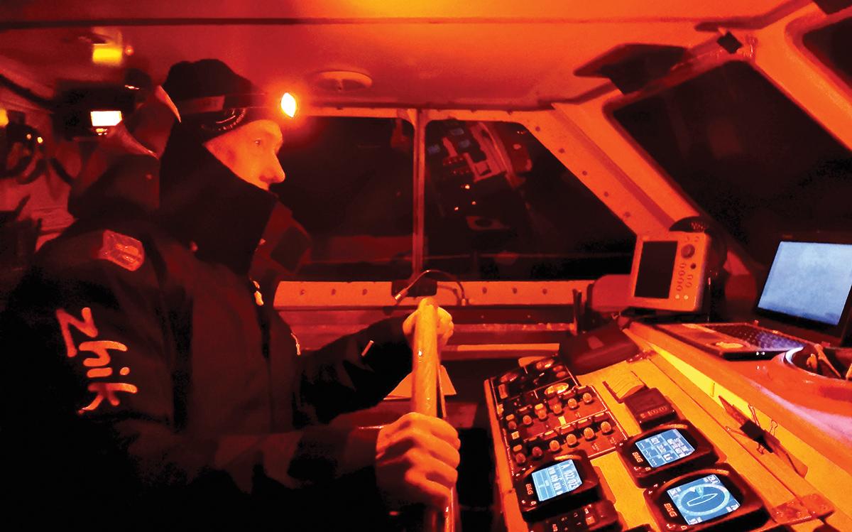 sailing-antarctica-nick-moloney-Ocean-Tramp-ketch-night-watch-helm