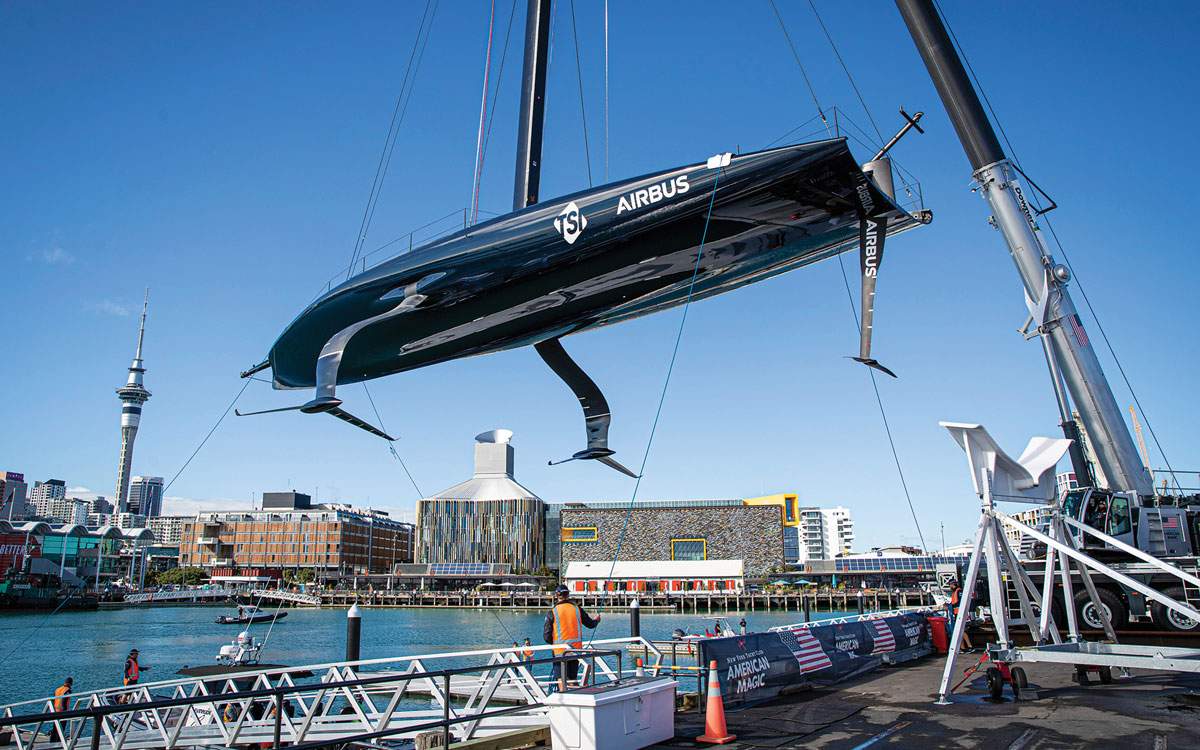 americas-cup-world-series-contenders-american-magic-patriot-launch-credit-Will-Ricketson