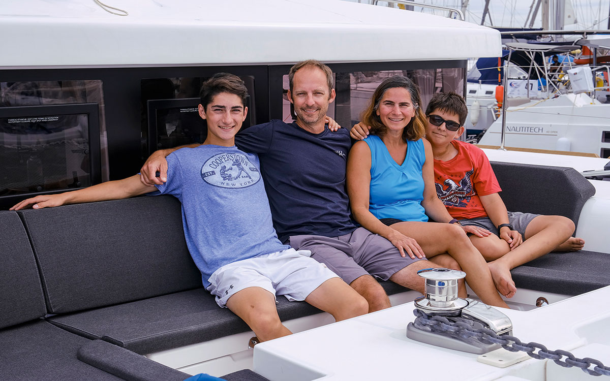 The D'Avena family aboard their boat before their Atlantic crossing