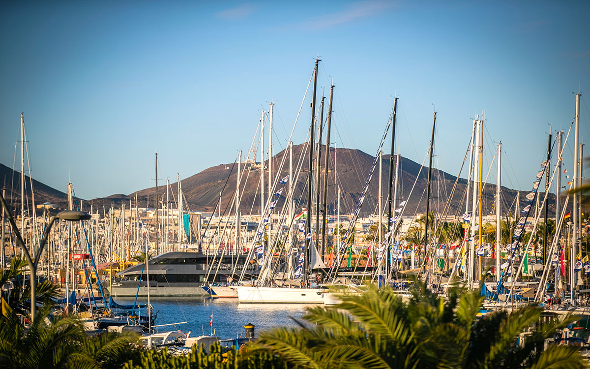Boats in Las Palmas before setting off across the Atlantic