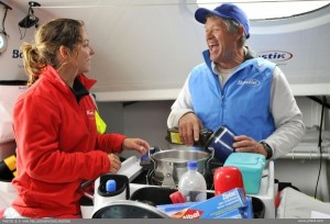 Cooking is always an agreable moment onboard Bostik, here between Alexia Barrier and Phil Paxton on the Transatlantic Cherbourg