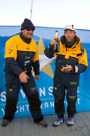 Telefonica Azul finishing the Sevenstar Round Britain and Ireland Race
