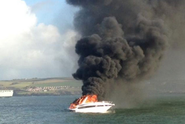 Boat fire in Plymouth