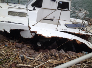 boat damaged by hurricane