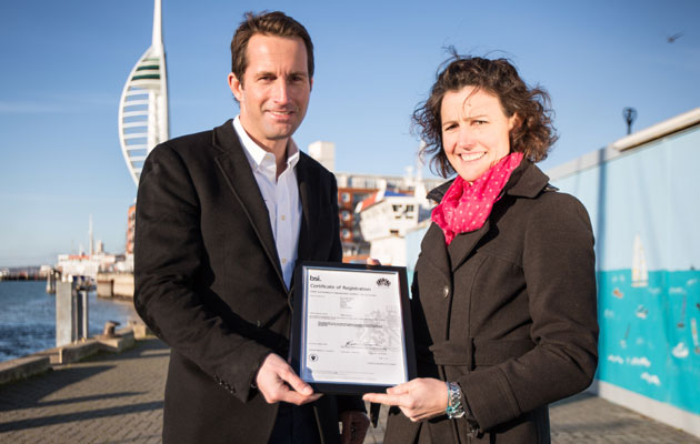 Ben Ainslie and Susie Tomson with their ISO 20121 certificate