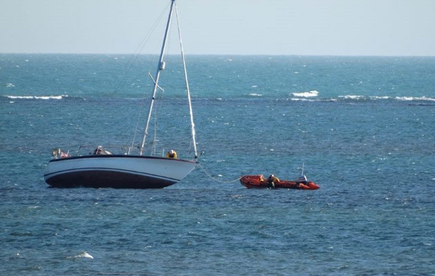 Grounded yacht off Selsey Bill