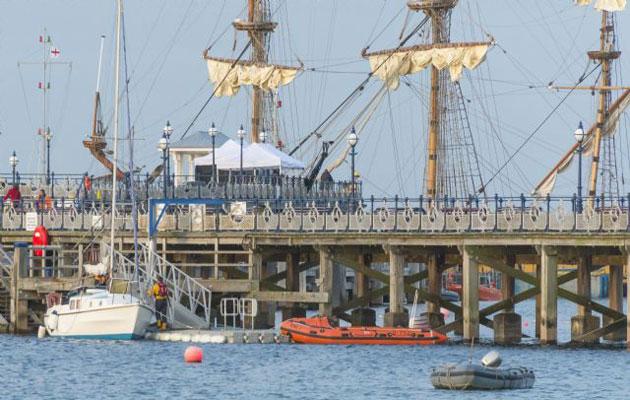 RNLI crews help the confused sailor ashore