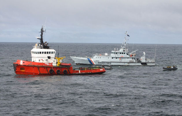 Tugboat intercepted by HMS Somerset