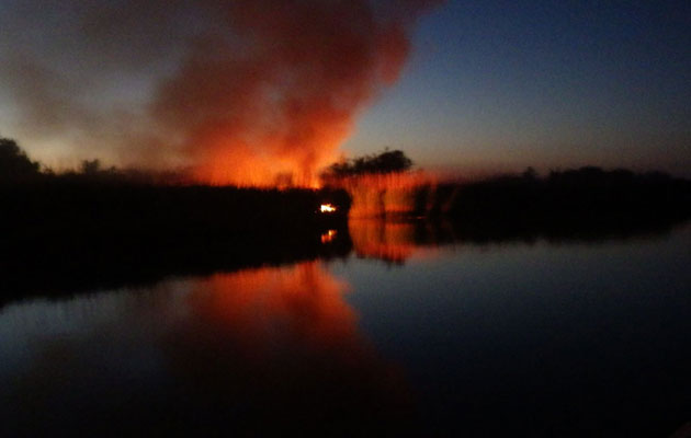 Fire on River Frome