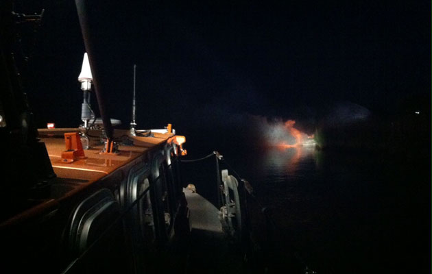 Fire on cruiser on River Frome