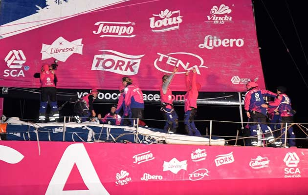 Team SCA celebrate victory in a leg of the Volvo Ocean Race