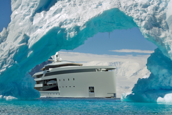Damen superyacht sailing through ice