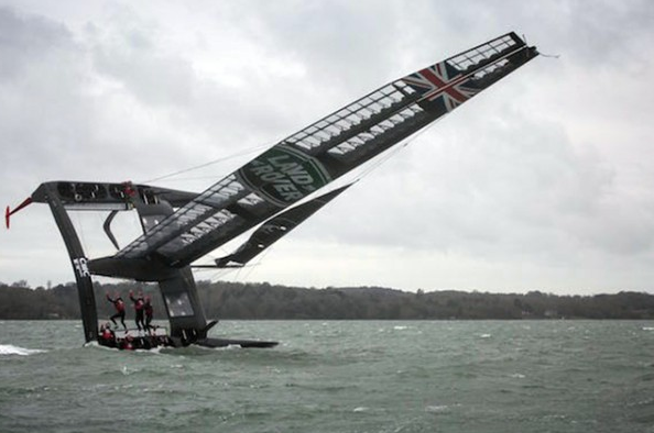 T2 capsizing during training on the Solent (c) Harry KH/Land Rover BAR