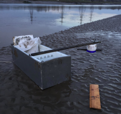 The fridge freezer used by the pranksters on the River Dee