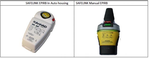 Kannad SafeLink EPIRB型号(零件号为K1202367或K1202367)是唯一受影响的Kannad海洋产品。